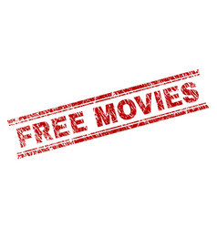 Scratched textured free movies stamp seal vector