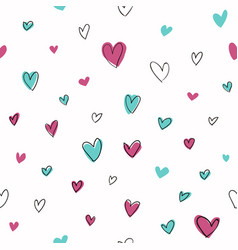 seamless hand drawn hearts pattern white vector image