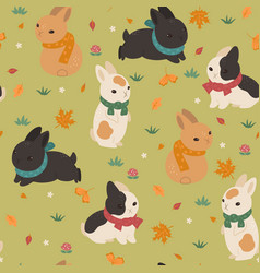 Seamless pattern with rabbits in scarves vector