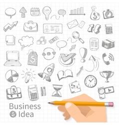 set doodle business management vector image