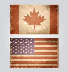 Set of grunge flags usa and canada vector