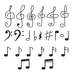 Set of hand drawn music notes vector image