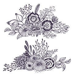 set of two beautiful fantasy bouquets with hand vector image