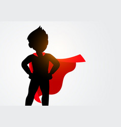 silhouette kid in superhero costume vector image