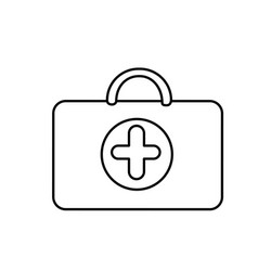 Silouette suitcase healthcare with hospital symbol vector