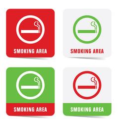 Smoking area sign set vector