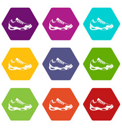 sneakers for tennis icon set color hexahedron vector image