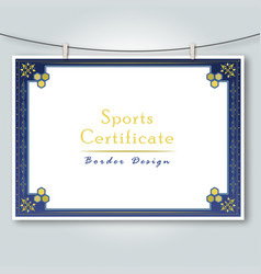 Sports certificate border design vector