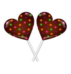 sweet lollipops chocolate in shape heart vector image
