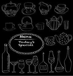 Tea set in black vector image