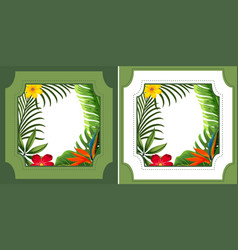two frame designs with green leaves and flowers vector image