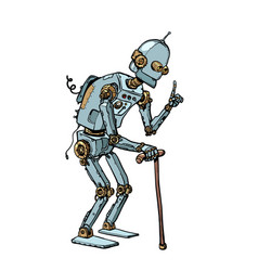 very old robot man with a stick vector image