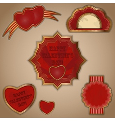 vintage love labels set for valentines day - vector image