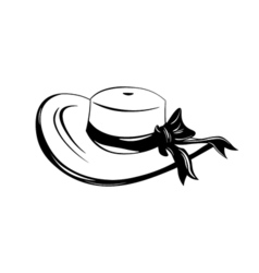 Vintage wide-brimmed woman hat with bow isolated vector