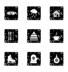 Weather winter icons set grunge style vector