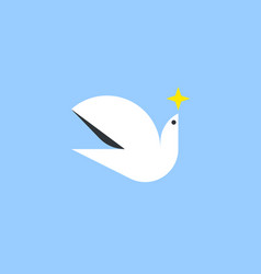 white dove holding star in the sky flat style vector image