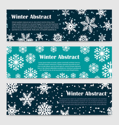 winter banners templates with snowfall and vector image