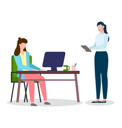 woman working at computer sitting at table woman vector image