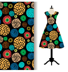 womens dress fabric pattern with dots vector image