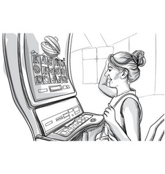 Young happy woman playing slots in casino line vector