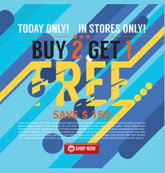 Buy 2 get 1 free background banner vector