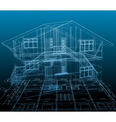 House technical draw blue background vector image vector image