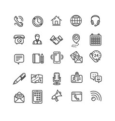 contact us icon black thin line set vector image vector image