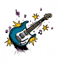 guitar drawing vector image