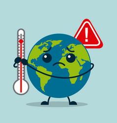 Kawaii earth planet sad with thermometer warning vector