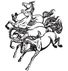 running wild horses vector image vector image