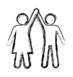 sketch pictogram of couple taken of hands up vector image vector image