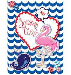 flamingo card 3 380 vector image vector image