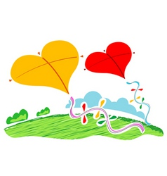 heart shape kites vector image vector image