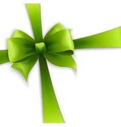 Invitation card with Green holiday ribbon and bow vector image