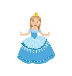 Little Girl In Blue Dress Dressed As Fairy Tale vector image