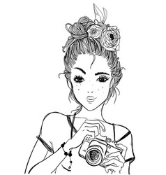 portrait of a young woman with camera vector image vector image
