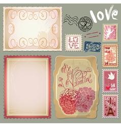 Set of vintage postcards for Valentines Day design vector image