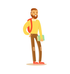 young bearded man in casual clothes with backpack vector image vector image