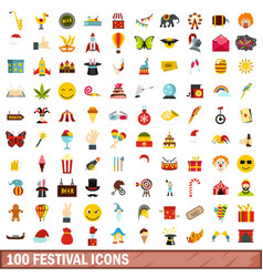 100 festival icons set flat style vector