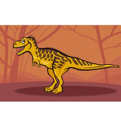 cartoon of tarbosaurus dinosaur vector image vector image