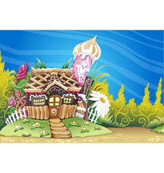 Fantasy Marzipan Sweets House Background vector image
