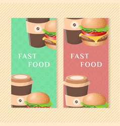 fast food banners with burger and coffee graphic vector image vector image