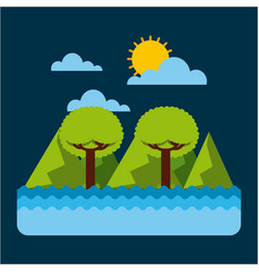 green landscape tree mountain water sky vector image