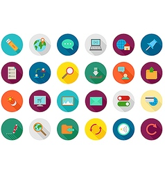 Internet round icons set vector image vector image