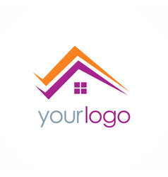 roof realty home logo vector image vector image