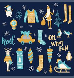 stock christmas set vector image