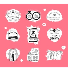 Wedding Invitations badges And Icons - Set - vector image
