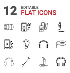 12 ear icons vector image