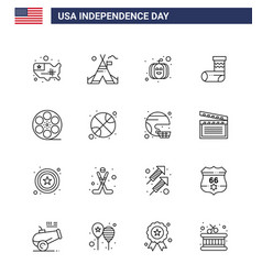 16 usa line signs independence day celebration vector