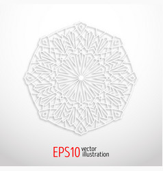 3d white geometric mandala arabesque design vector image